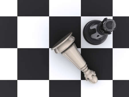 outwit: Chessboard with pieces in start position - rendered in 3d Stock Photo