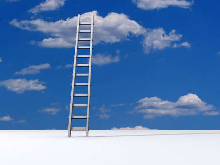 scald: Ladder leading to a clouds - rendered in 3d Stock Photo