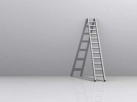 scald: White ladder backed to a white wall - rendered in 3d