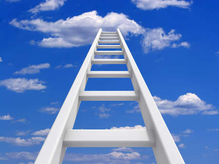 way out: White ladder leading to a clouds - rendered in 3d Stock Photo