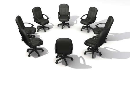 Eight office chairs in circle on white background - 3d render Stock Photo - 3150721