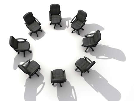 Eight office chairs in circle on white background - 3d render Stock Photo - 3150806