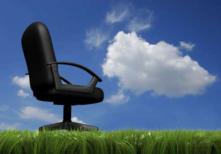 holidays vacancy: Office chair in grass field and blue cloudy sky - rendered in 3d