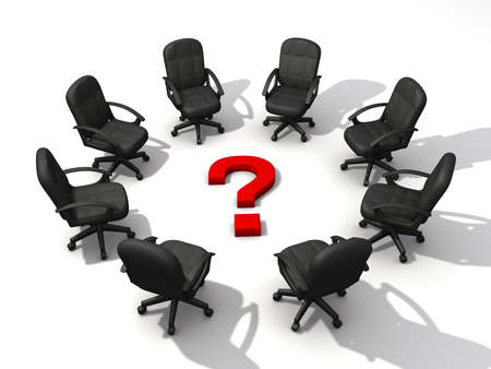 Office chairs in circle and a question mark on white background - 3d render Stock Photo - 3150956