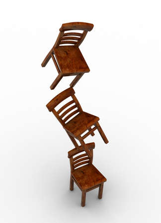 poise: Three chairs in equilibrium on white background - 3d render