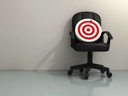 promoted: An office chair with a target - rendered in 3d Stock Photo