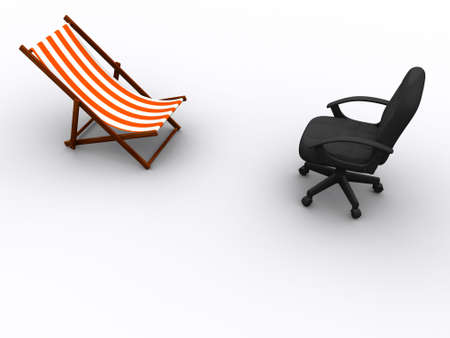 offiice: Face to face sun lounge and offiice chair - 3d render Stock Photo