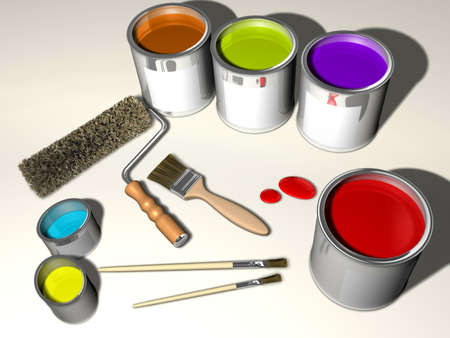Paint cans, brushes and roller - 3d render Stock Photo - 3151063