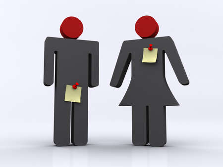 Man and women icons with yellow notes - 3d render Stock Photo - 3150758