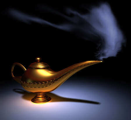aspirational: Golden Aladdin lamp smoking - rendered in 3d Stock Photo