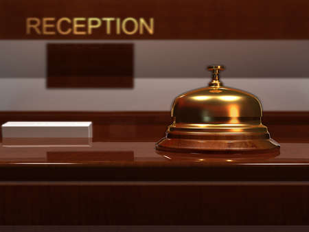 reception hotel: Close up of a golden bell - rendered in 3d