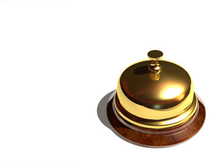 Close up of a golden bell on white background - rendered in 3d Stock Photo