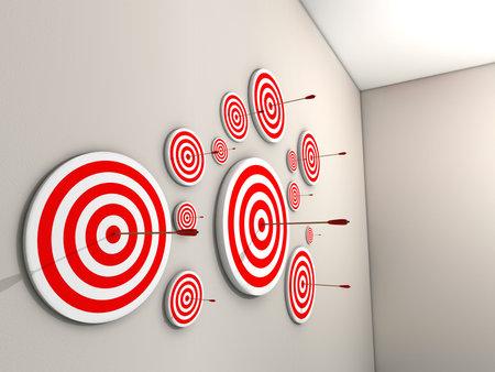Un grand nombre de cibles avec des fl�ches sur mur - 3d rendu