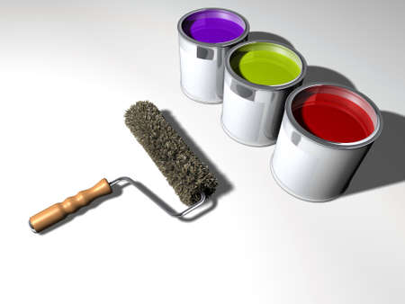 Three paint cans and a roller - 3d render Stock Photo