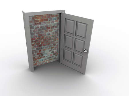 inaccessible: A door blocked by a wall - 3d render