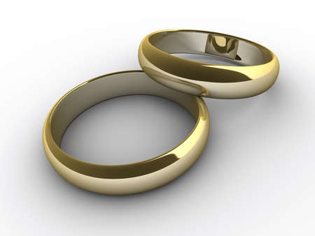 imbedded: Two wedding rings on white background - 3d render Stock Photo