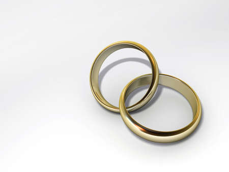 imbedded: Two imbedded wedding rings on white background - 3d render Stock Photo