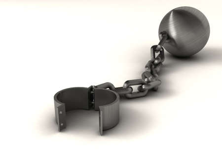 Ball and chain suggesting freedom - rendered in 3d photo