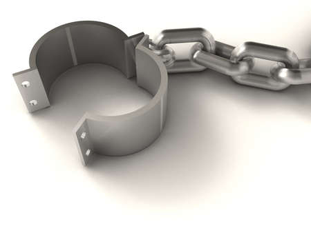 escape from prison: Prison chain suggesting freedom - rendered in 3d