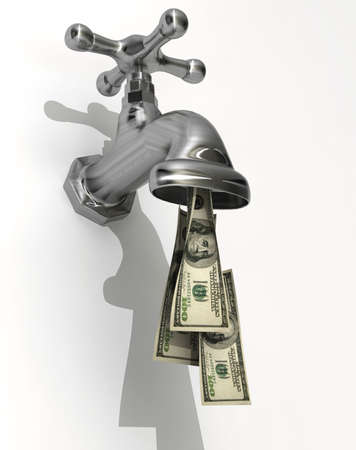 Conceptual faucet dripping money - rendered in 3d photo