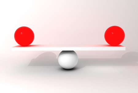 poise: Three sphere in balance, conceptual illustration representing equilibrium and precision Stock Photo