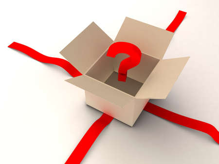 A box with question mark inside - 3d render photo