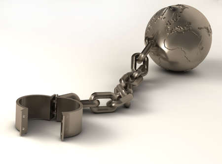 prison ball: Metallic sphere with world map and chain - 3d render