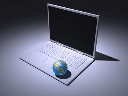 A white laptop with Earth globe - rendered in 3d Stock Photo - 3716187