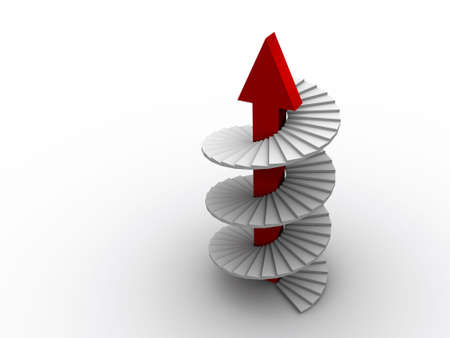 scald: A white spiral ladder with red arrow  - rendered in 3d Stock Photo