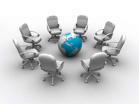 Eight chairs surrounding Earth globe - rendered in 3d Stock Photo - 3716191