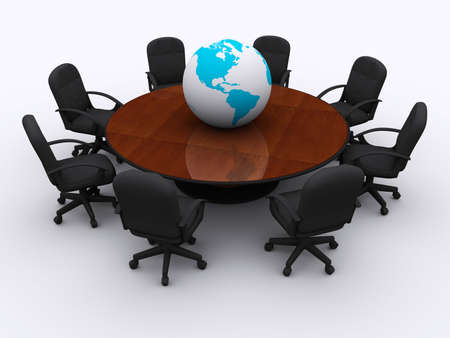 Conceptual conference table with Earth globe - 3d render Stock Photo - 3716179