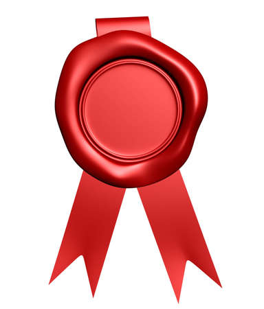 Red wax seal with ribbon - rendered in 3d Stock Photo - 3716125