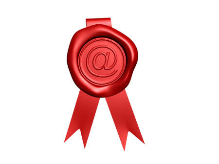 Red wax seal with around symbol - rendered in 3d photo