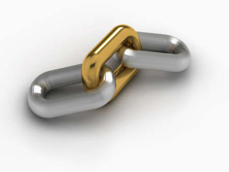 differing: A chain with an oustanding golden link - rendered in 3d Stock Photo