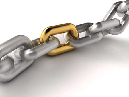 connecting: A chain with an oustanding golden link - rendered in 3d Stock Photo