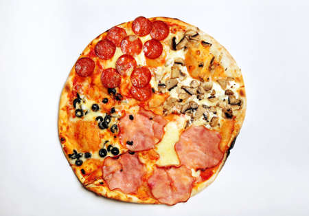 rubicund: Top view of pizza on white background, close up