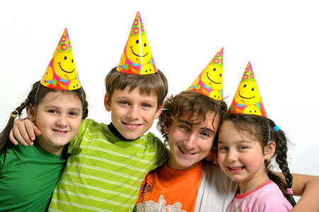 kids party: Group of happy kids with party horn