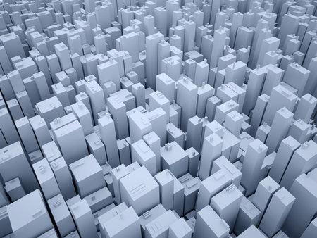 cramped: Conceptual illustration of a city - 3d render