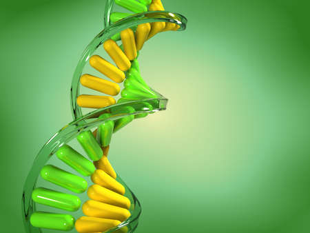 genetically modified organisms: Conceptual chemistry scene - DNA structure - 3d render  Stock Photo