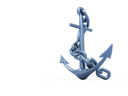 steely: Metal anchor with chain on white background - 3d render
