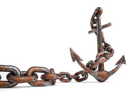 Rusty and eroded anchor with chain - 3d render