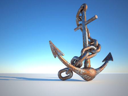녹슨: Rusty and eroded anchor with chain - 3d render 스톡 사진