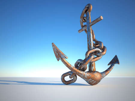 erode: Rusty and eroded anchor with chain - 3d render Stock Photo