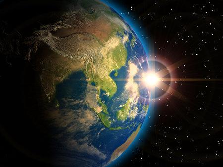 astronomie: Illustration der Erde gesehen von Raum - 3d Render. Textur, Elevation und Wolken Karten kommt von http:www.shadedrelief.com