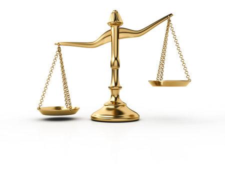 balanza de la justicia: Una escala de lat�n dorado sobre fondo blanco - 3d procesamiento