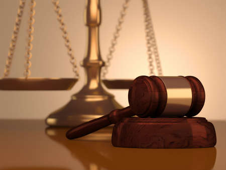 law scale: A golden justice scale and gavel - 3d render  Stock Photo