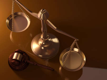 A golden justice scale and gavel - 3d render photo