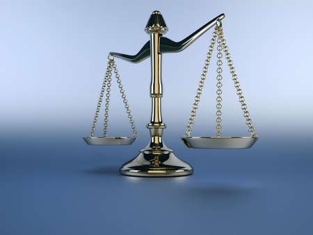 justice balance: A silver brass scale on blue background - 3d render