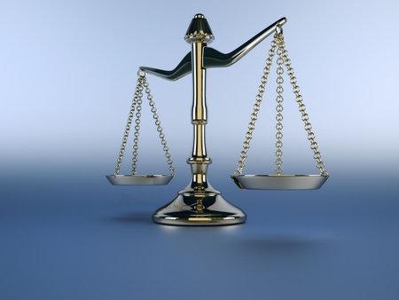 balanza justicia: Una escala de lat�n de plata sobre fondo azul - 3d procesamiento  Foto de archivo