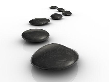 Black stones arranged on white surface - 3d render